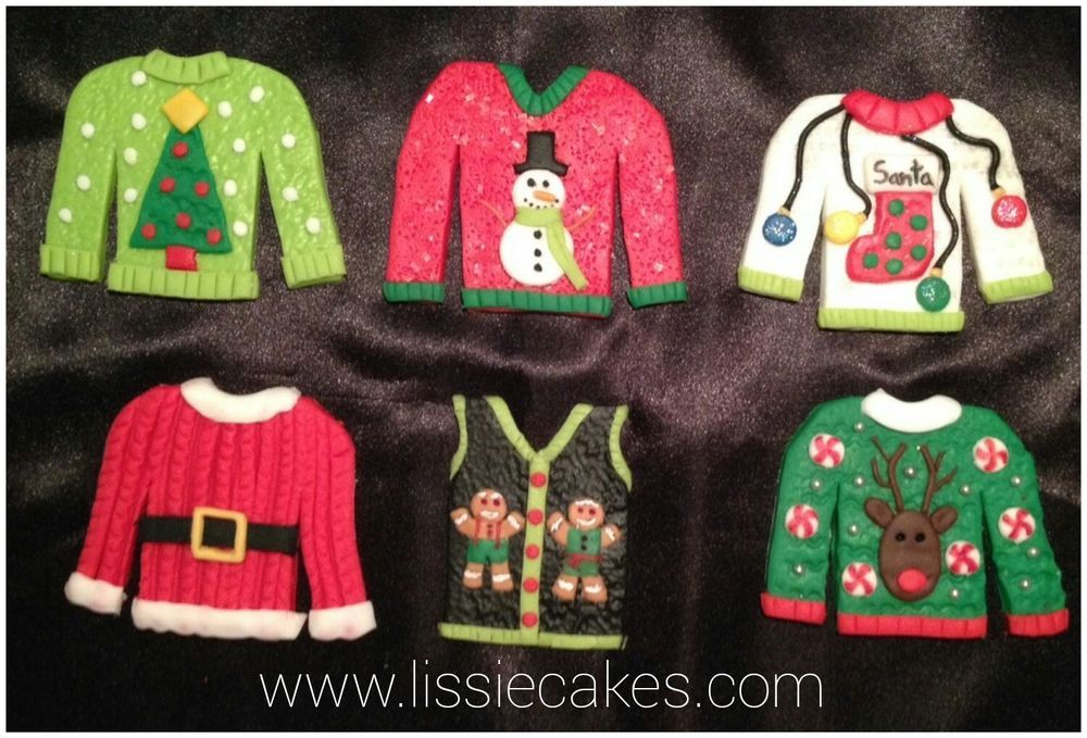 Ugly Christmas Sweaters Cupcake Toppers Sugar Decorations (6) Party