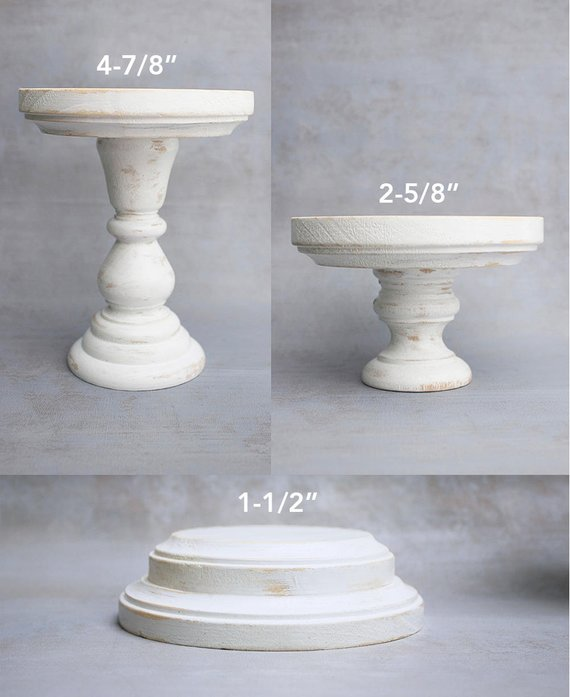 Wooden Pillar Style Candle Holders Pair Set Or Single Hand Painted Shabby Chic Distressed White Wood Candlestick Holder Wooden Candle Holders Wooden Pillars Candle Holders