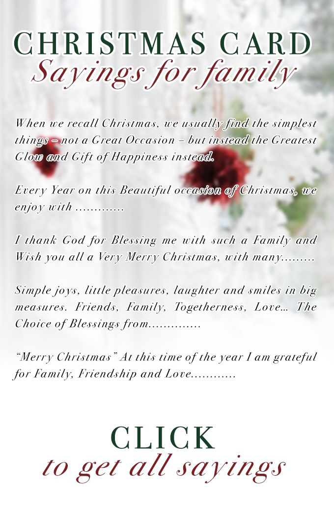 Christmas Card Sayings for Family
