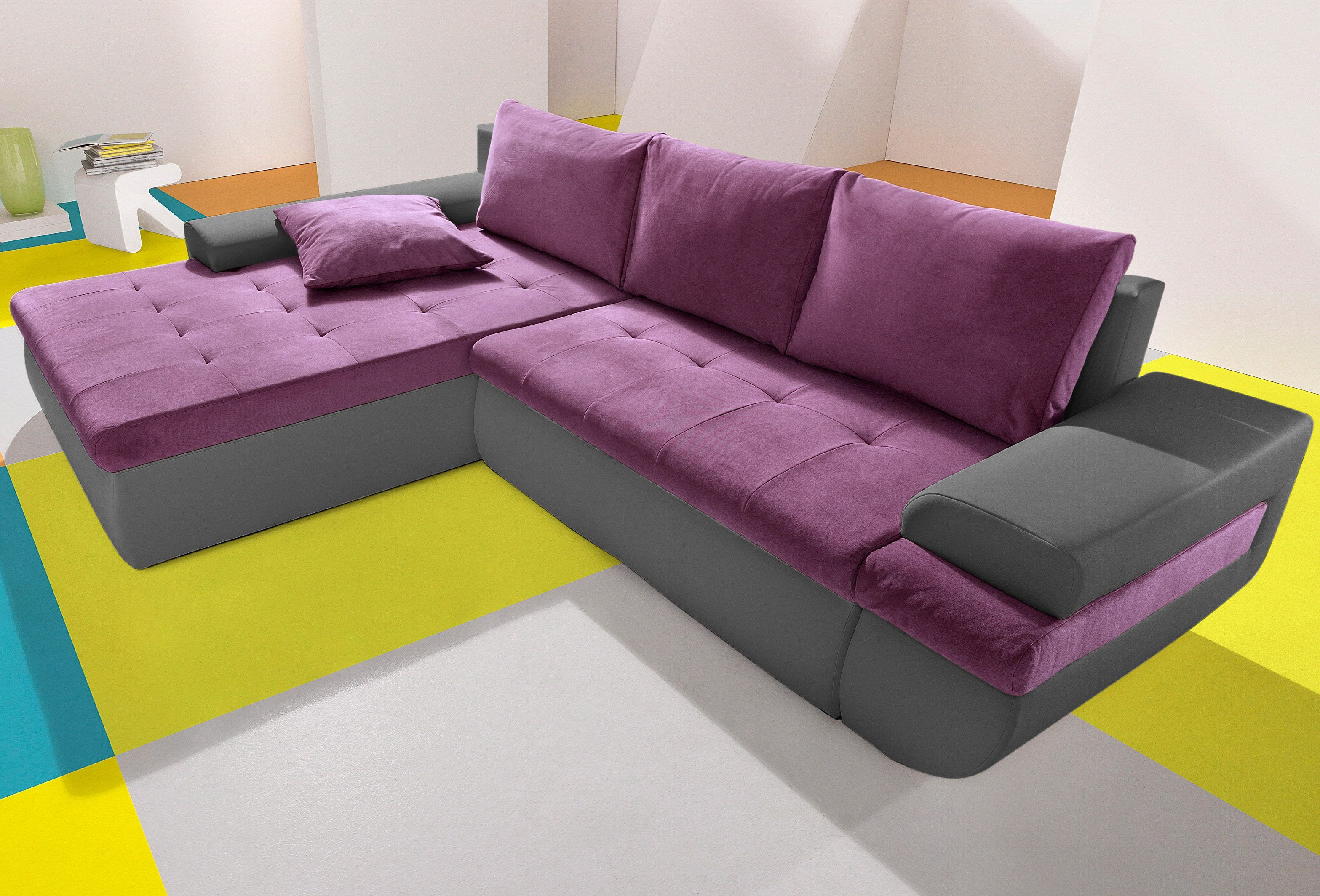 Xxl Sofa Mit Bettfunktion Inosign Ecksofa Lila Xxl Recamiere Links Mit Bettfunktion