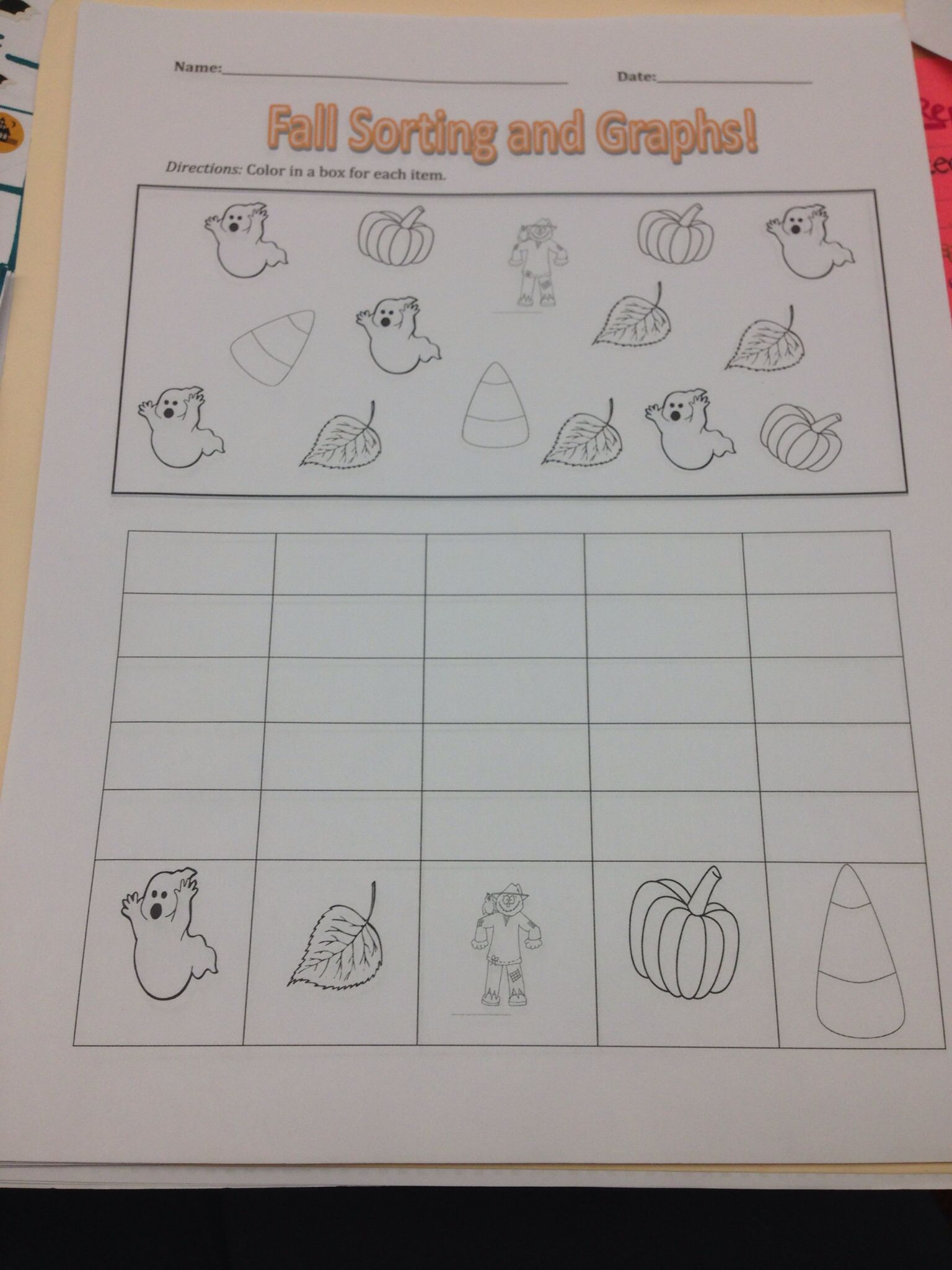 1st Grade Fall Sorting And Graphing