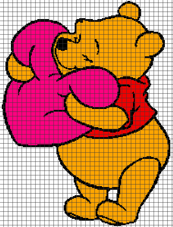 Winnie The Pooh Knitting Patterns Free : Winnie the Pooh Holding Heart (Graph AND Row-by-Row Written Crochet Instructi...
