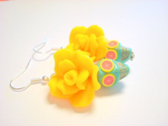 Turquoise Pink Grapefruit Yellow Day of the Dead by PennysLane, $8.50
