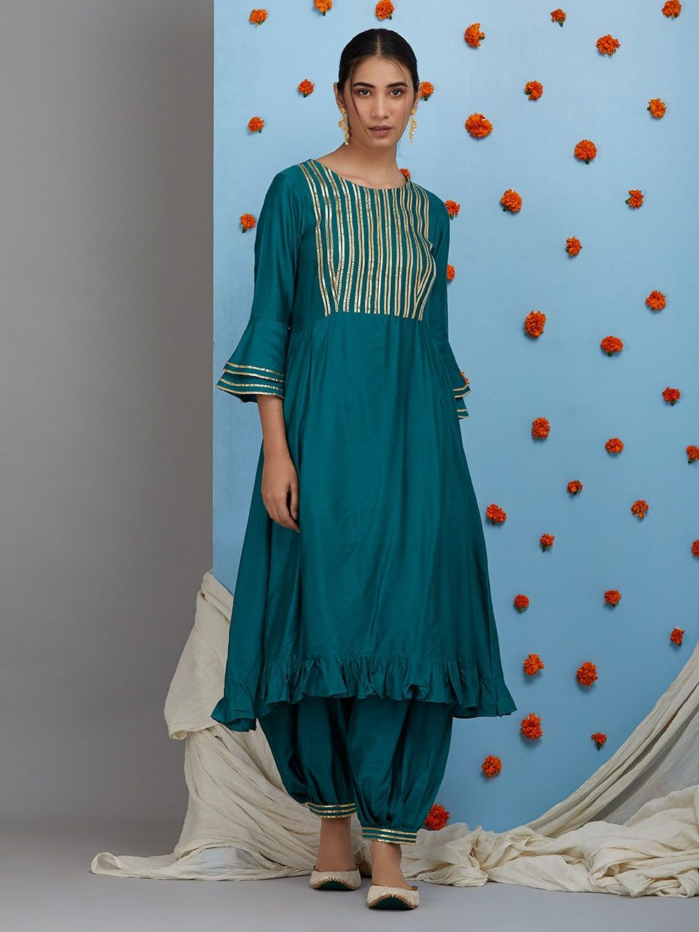 d03d30030e Buy Green Cotton Silk Pleated Kurta online at Theloom