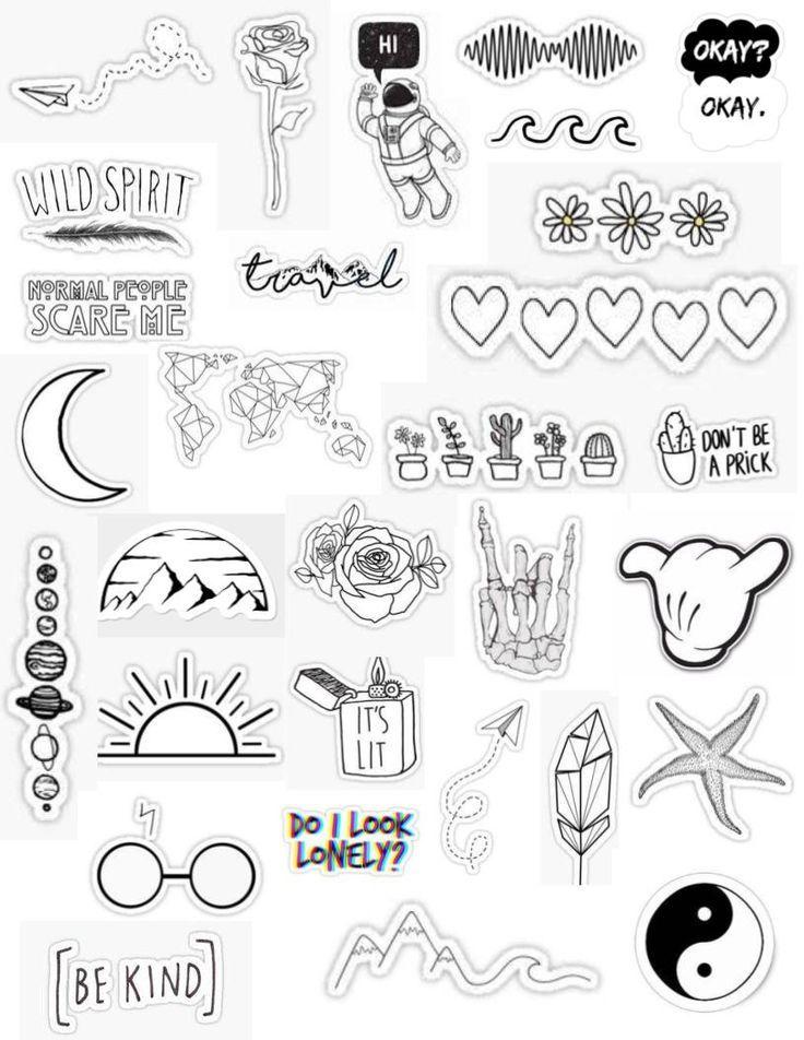 White Stickers Macbook Stickers White Aesthetic Stickers Black And White Stickers Tumblr Stickers