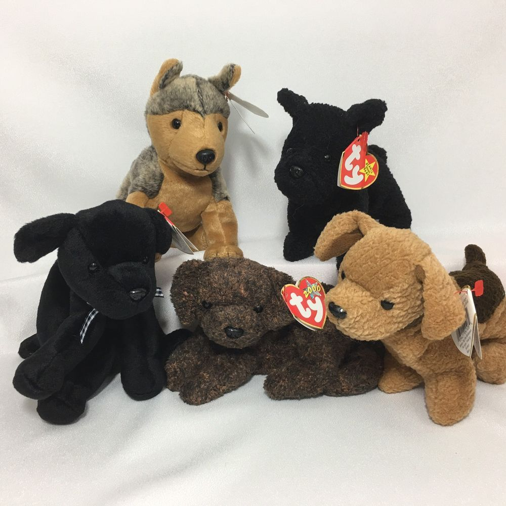 5 Ty Beanie Babies Dogs Fetcher Luke Sarge Scottie Tuffy PE and PVC ... 3ac404a4c81