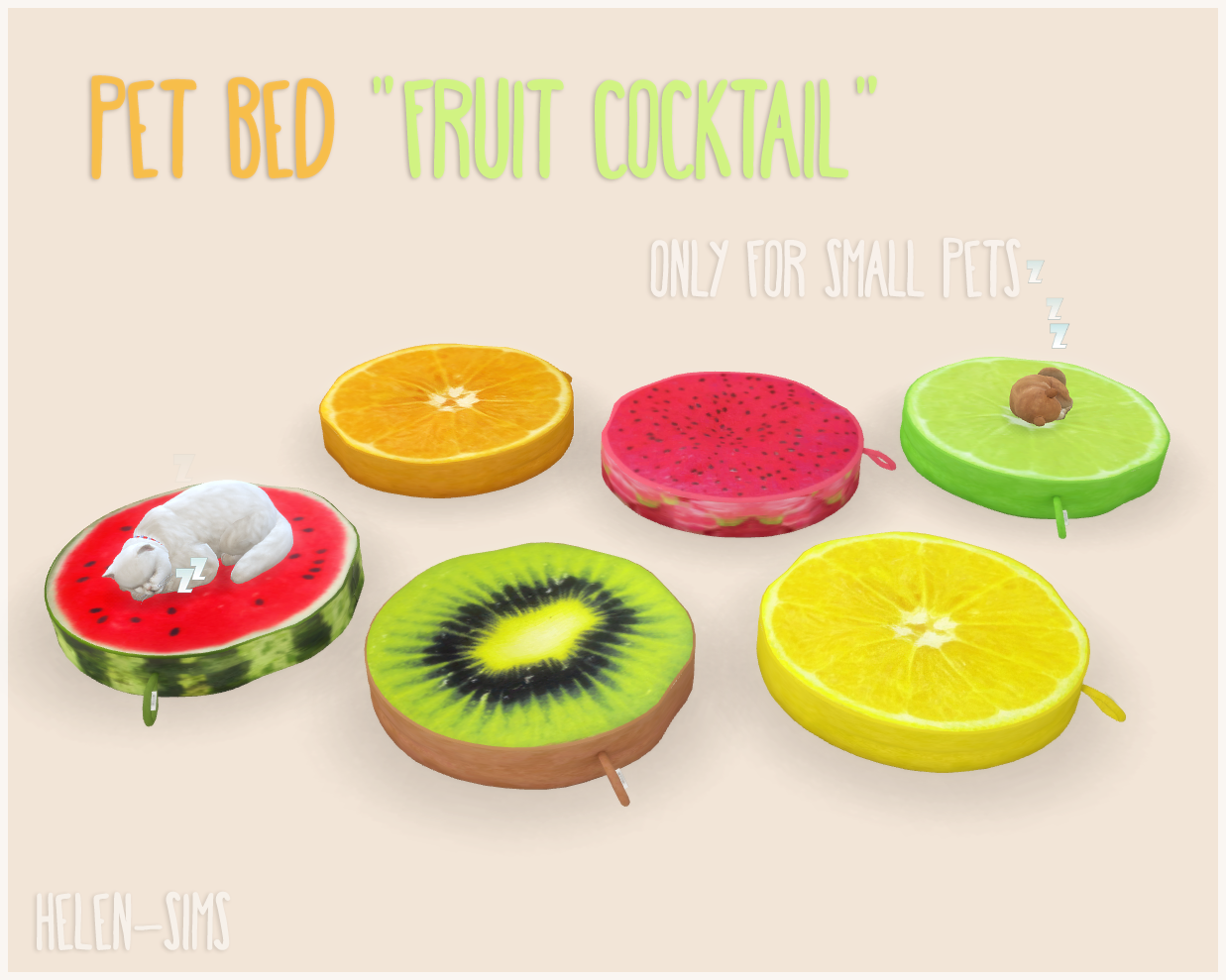 Ts4 Pet Bed Fruit Cocktail Sims 4 Sims 4 Pets Sims