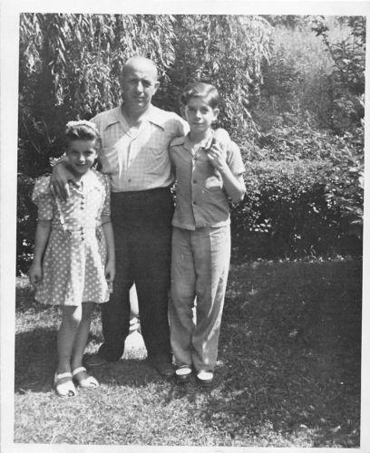 Black and White Vintage Snapshot Photograph Dad Kids Hug Yard Dress 1950's
