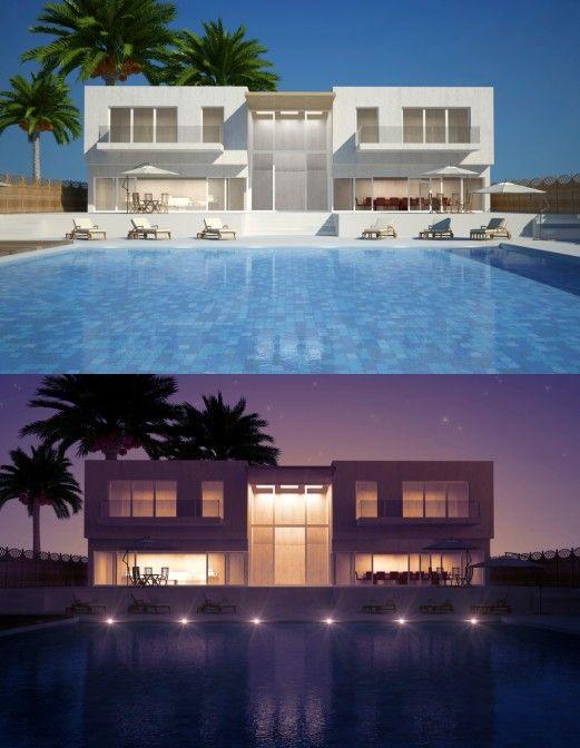 Modernes Haus mit großen Hinterhof Pool 2 Bilder tagsüber und nachts