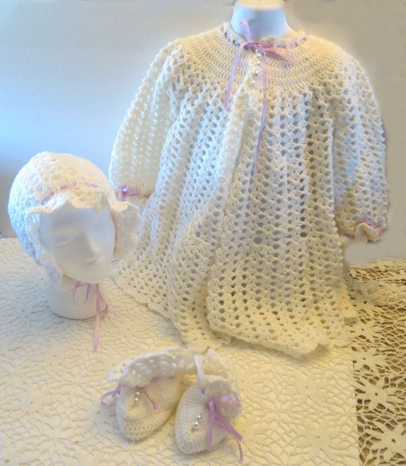 Crochet Baby Girl Dressing Christening Gown Outfit Booties Bonnet ...