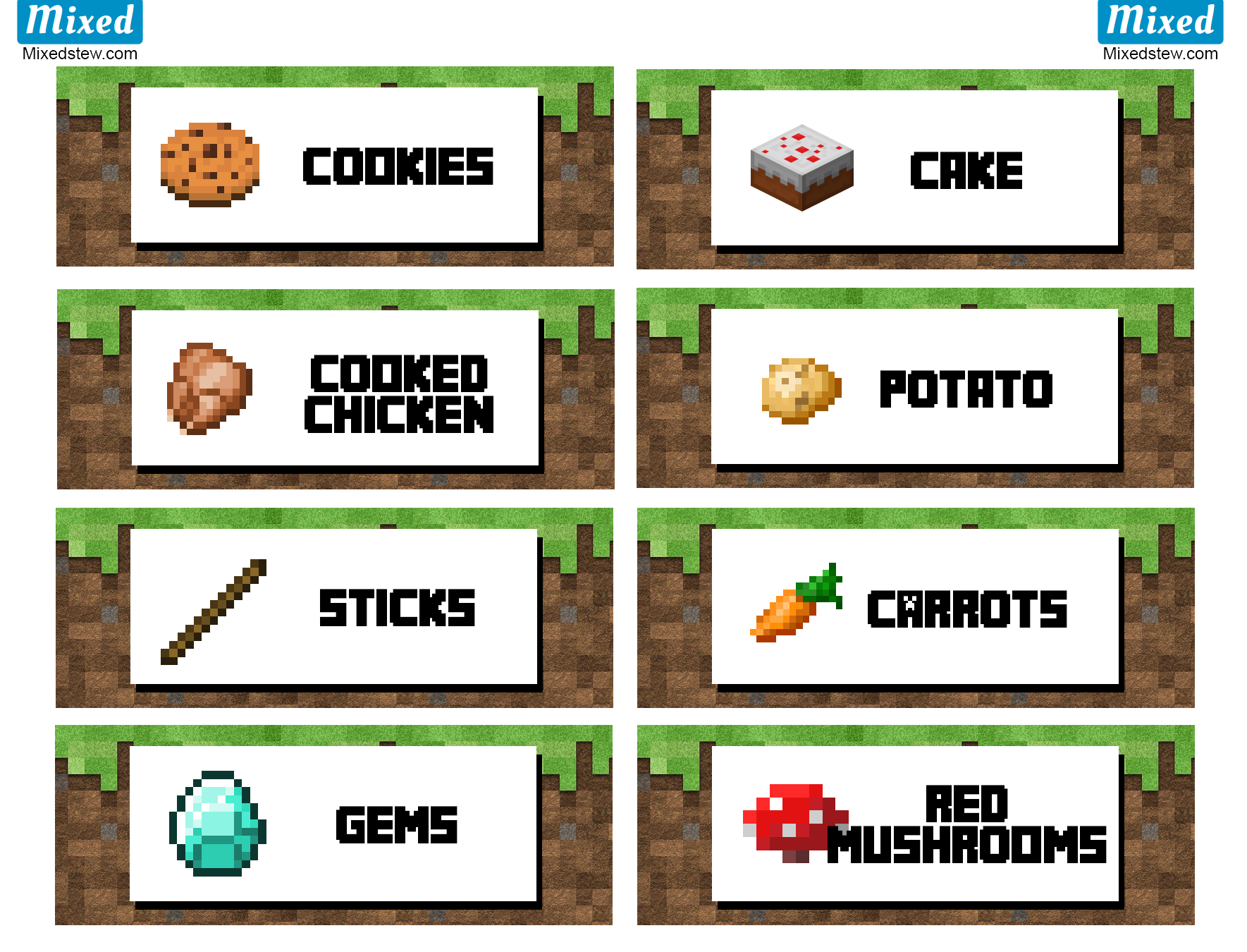 Ultimate Minecraft party printable food labels - Mixedstew ...