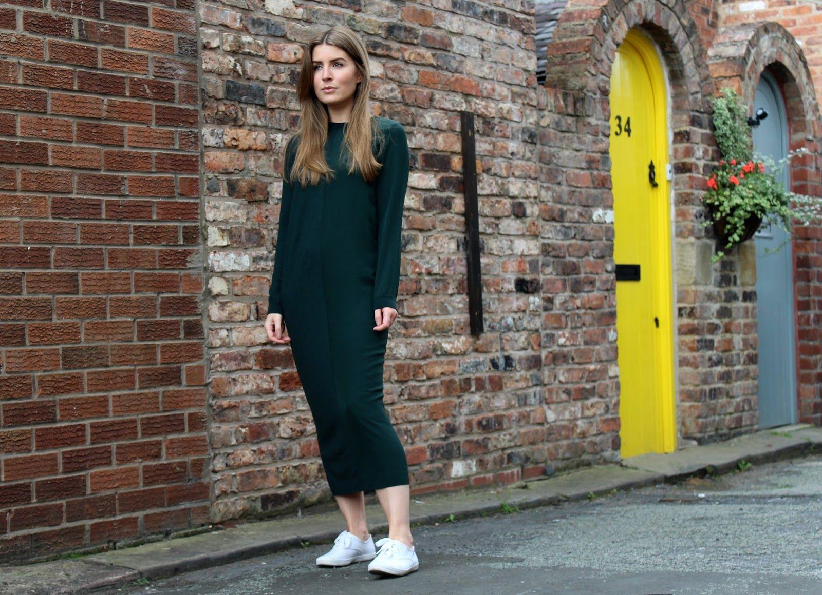 Green midi dress and Keds