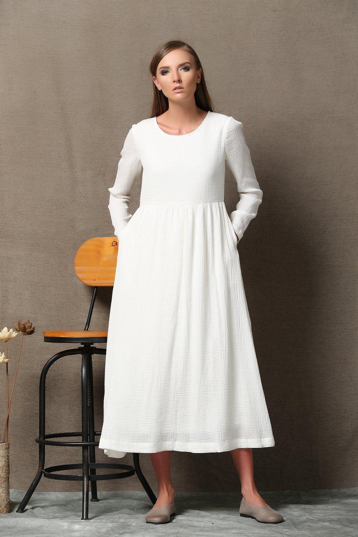 White Cotton Dress High Waist Semi Fitted Casual Everyday Etsy White Cotton Dress Cotton Long Dress White Dress [ 1500 x 1000 Pixel ]