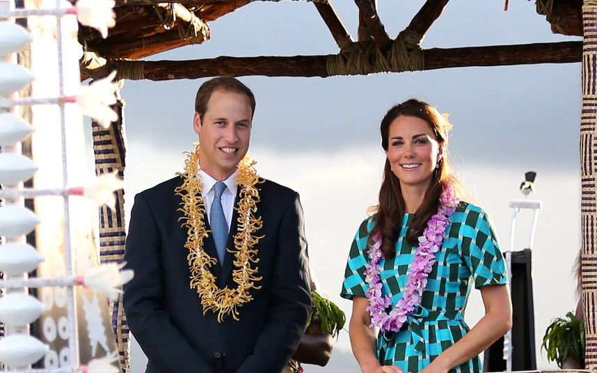 The Duke and the Duchess of Cambridge at Henderson Airport, Honiara, Solomon Islands, during the nine-day royal tour of the Far East and South Pacific in honour of the Queen's Diamond Jubilee