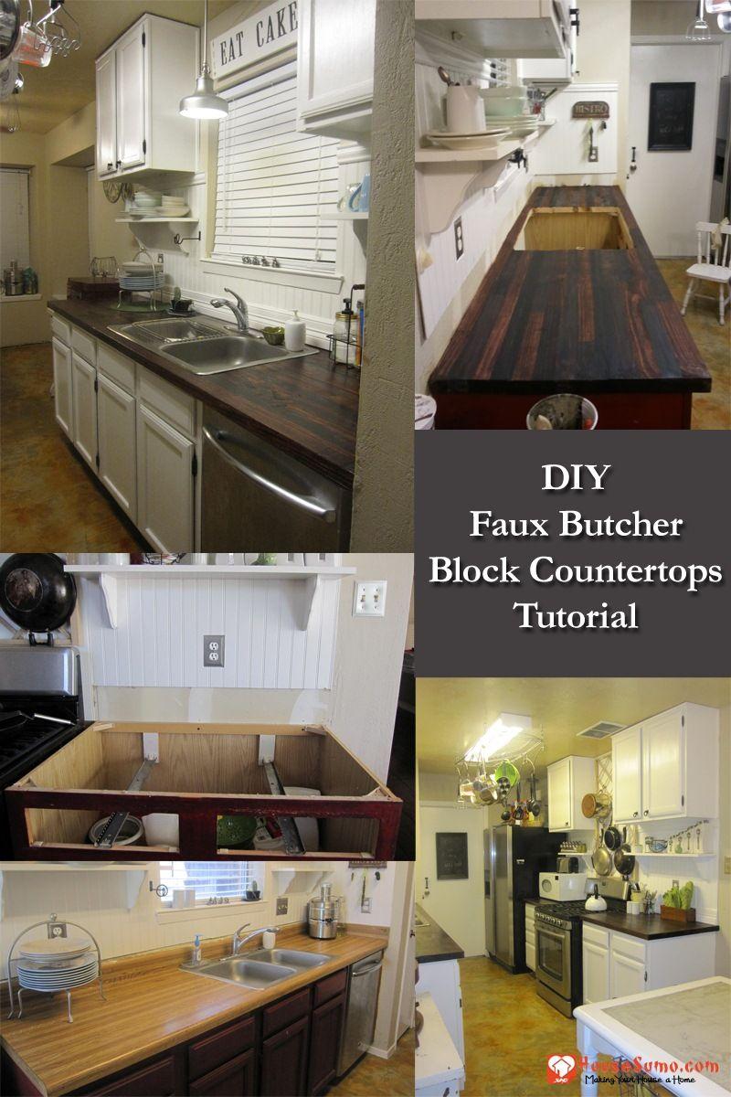 Diy Faux Butcher Block Countertops Tutorial Butcher Block