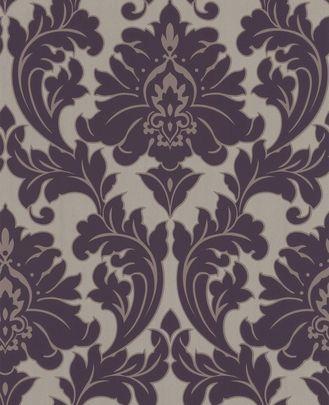 Majestic Purple Damask Wallpaper Damasskie Oboi Serye Oboi Damast
