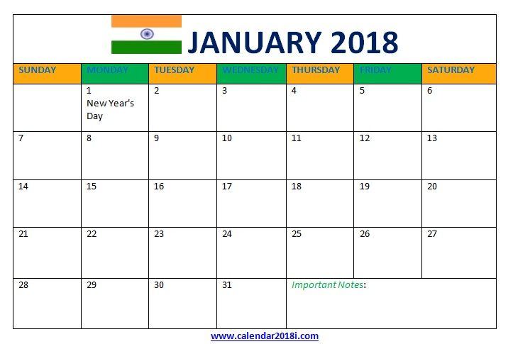 january 2018 calendar with holidays india