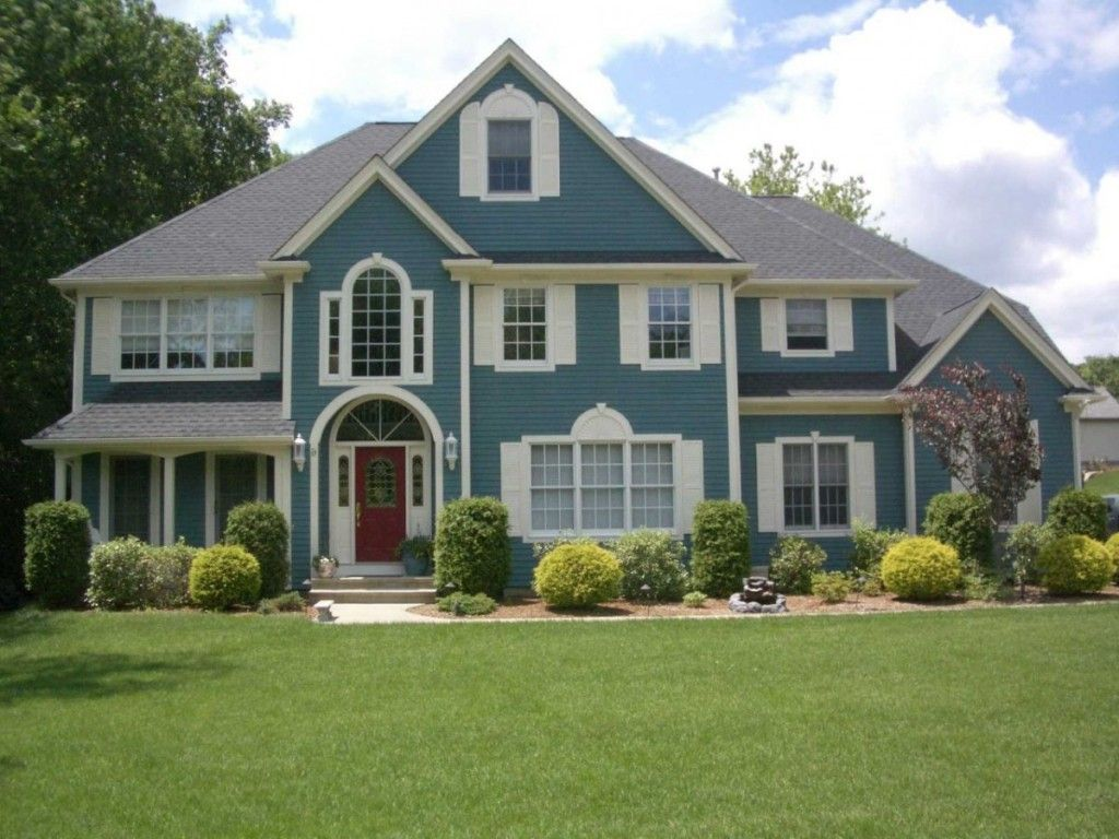victorian home ideas with blue exterior house color combination and