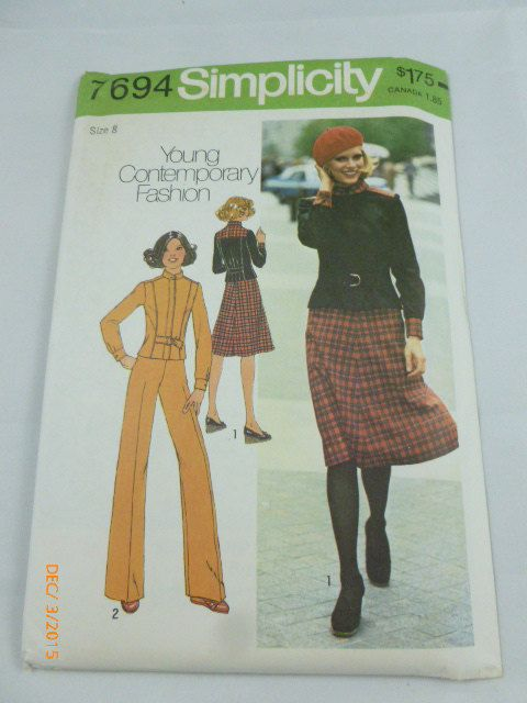 7694 Simplicity Sz 8 Young Contemporary Fashion Vintage 1976 by 2xisnice on Etsy