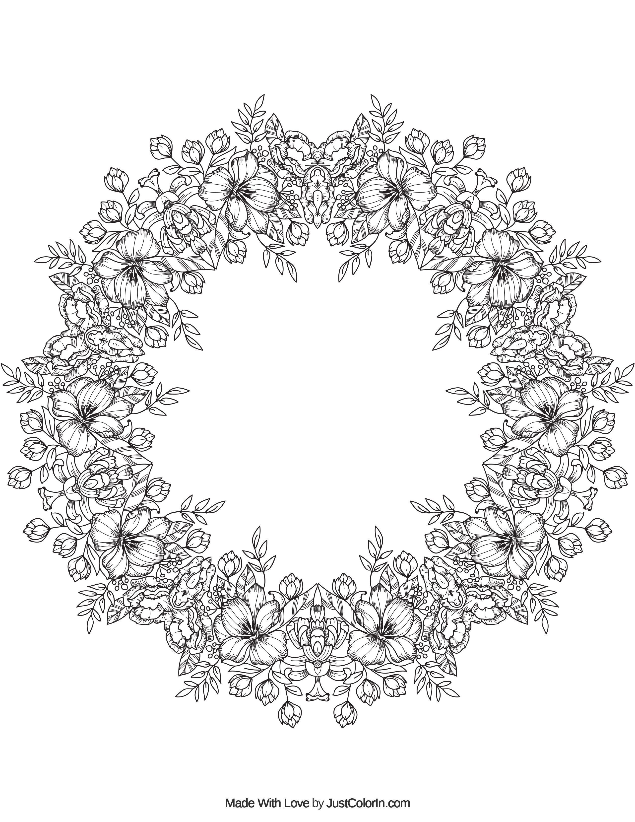Flower Crown Mandala From JustColorin