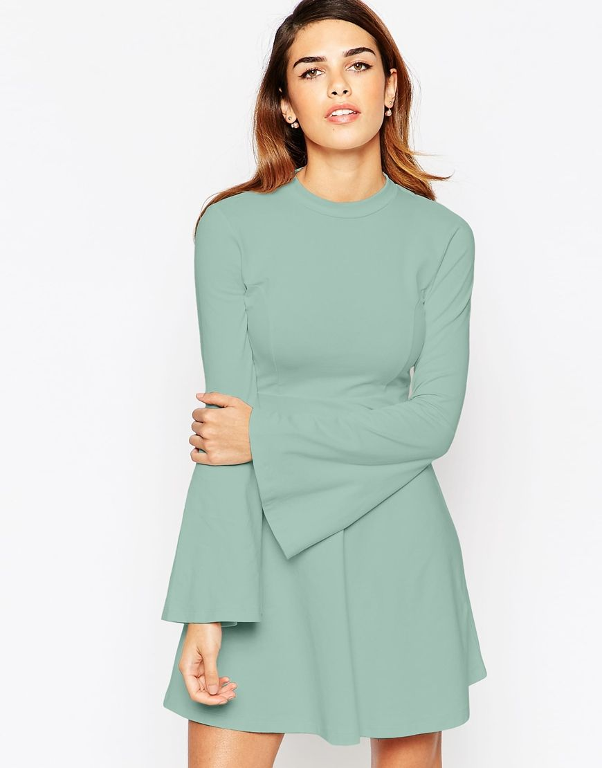 ASOS Babydoll Dress with High Neck and Flared Sleeves | Preppy ...