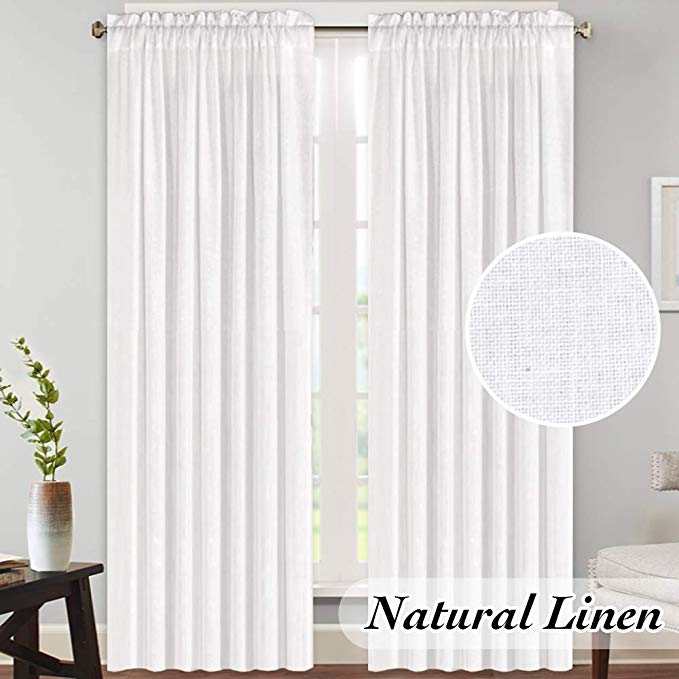 Amazon Com Princedeco Rich Textured Linen Material Curtains For Living Room Breathable And Airy Light Curtains Living Room Linen Curtains White Linen Curtains