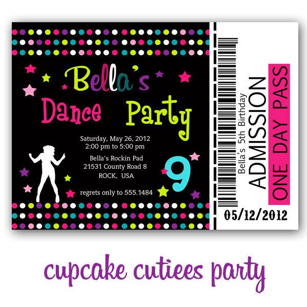 Dance Party Full Invite Ticket TIcket Digital Custom Invitation ...