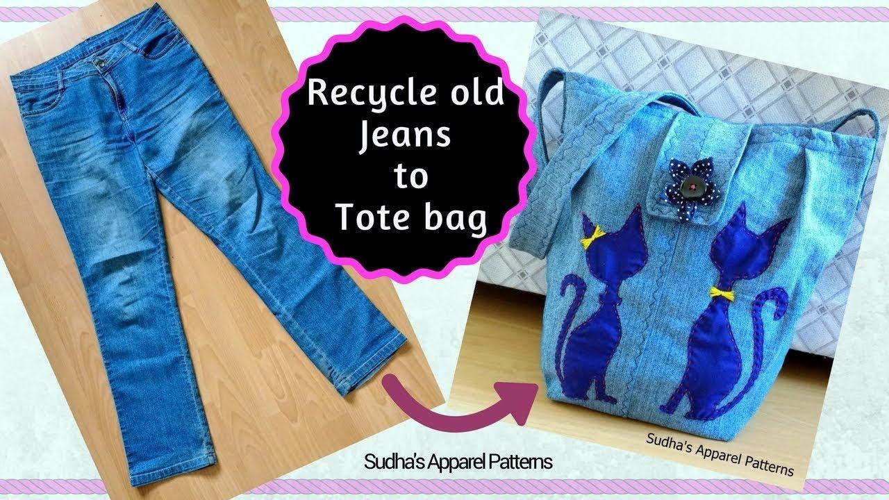 DIY Fashion Jeans Bag (recycled denim) How to make a Bag