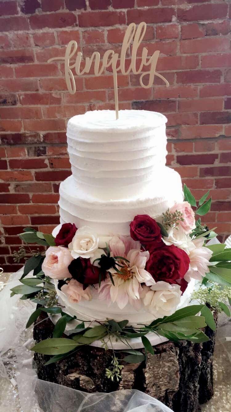 Wedding cake white tier simple flowers burgundy marsala finally cake