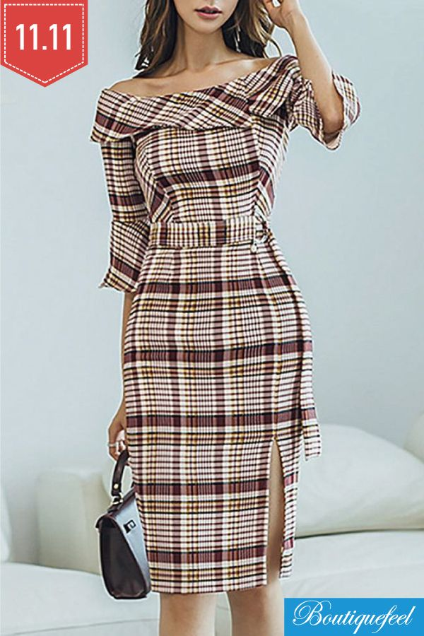 0e4fcf26479383 Off Shoulder Plaid Ruffles Design Bodycon Dress