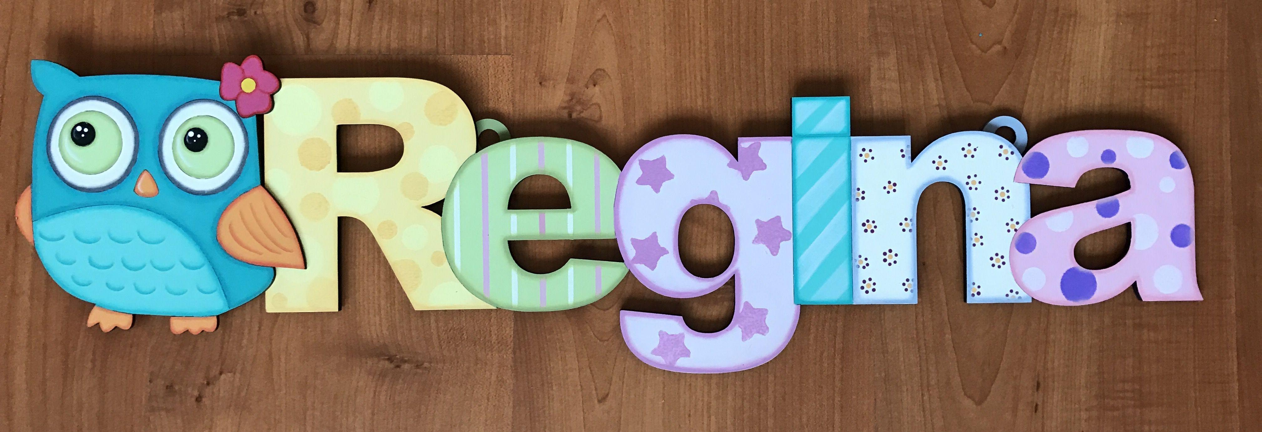 Nombre decoracion infantil madera country regina hechos en casa pinterest nombres en - Casa letras madera ...