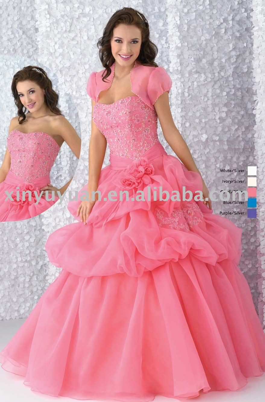 Image detail for -2011 designer pink chiffon quinceanera dresses ...