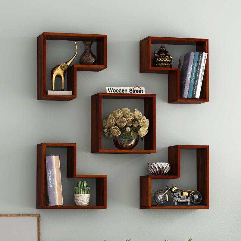 Buy Tiber Wall Shelf Honey Finish Online In India Wooden Street In 2020 Wall Shelves Design Wooden Shelf Design Modern Wall Shelf