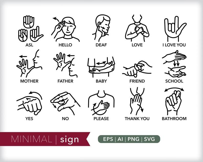 Sign Language Line Icons Asl Communication Icon Etsy Sign Language Language Icon Line Icon