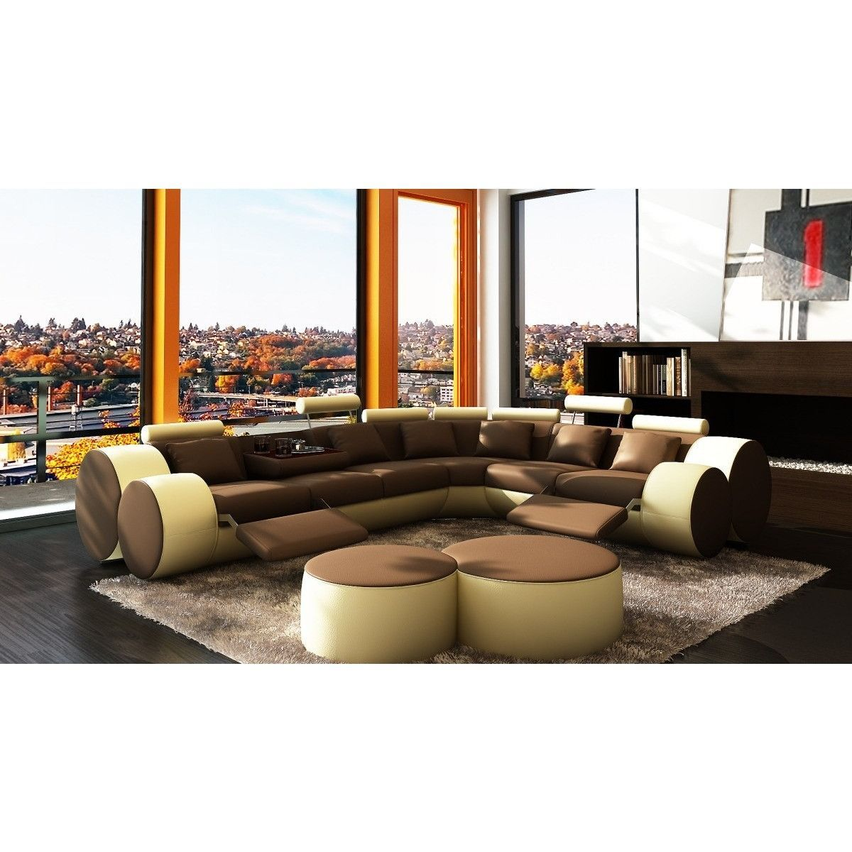 """Divani Casa 3087 - Modern Bonded Leather Sectional Sofa & Coffee Table. Dimensions: Overall: W121"""" x D100"""" x H30""""  3 - Seater: W72"""" x D39"""" x H30""""  2 - Seater: W51"""" x D39"""" x H30""""   Corner: W49"""" x D49"""" x H30""""  Seat Depth: 24""""  Seat Height: 18"""" Color: Other Finish:   - Modern ContemporaryRound Shape DesignUpholstered in bonded leather where your body touchesElegant left and right reclinersAdjustable Logged shaped head restTwo beautiful coffee tables includedThrow pillows includedMulti-toned…"""