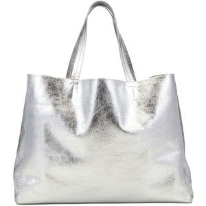 Collection WEEKEND by John Lewis Morgan Leather Tote Bag , Silver ...