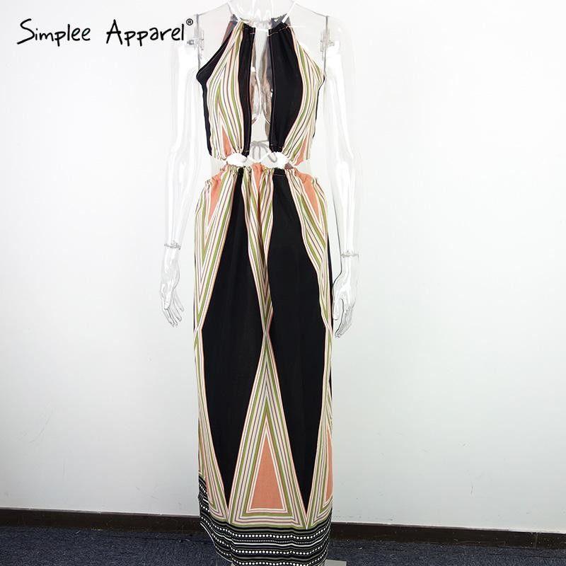 Simplee Apparel Sexy halter geometic print summer dress woman Elegant beach long dress Vintage side split maxi dress vestidos