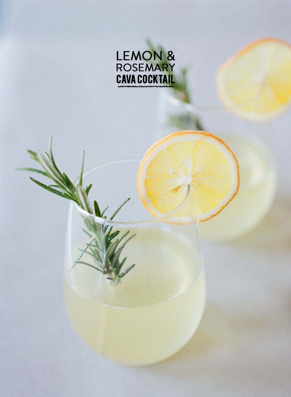 Lemon Rosemary Cava Cocktail Lemon Rosemary Cocktails Rosemary Cocktail
