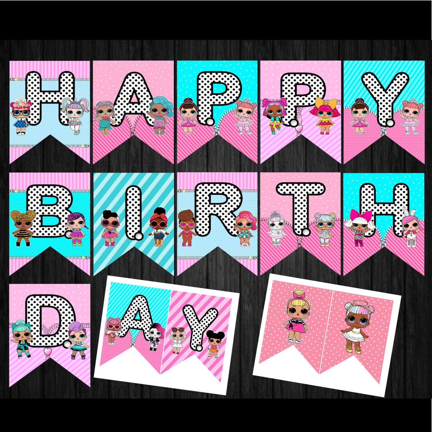 Lol Surprise Dolls Happy Birthday Banners Printable Digital Instant Download Banner Bunting Garl Happy Birthday Kids Happy Birthday Fun Happy Birthday Cupcakes