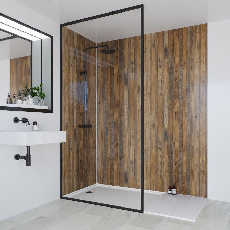 Linda Barker Wall Panel Salvaged Plank Elm Hydrolock Tongue Groove 2400 X 1200mm Ml9480shrhltg17 In 2020 Bathroom Wall Panels Waterproof Wall Panels Small Bathroom