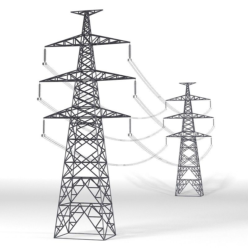 3d Tesnion Power Line Power Wood Block Printing Transmission Tower