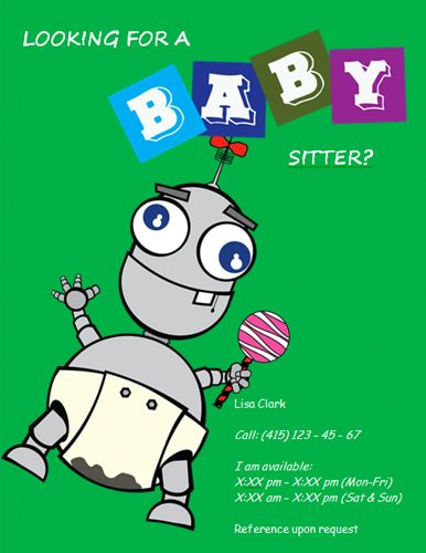 Funny Robot Babysitting Flyer Babysitting Pinterest