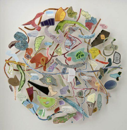 """Chris Kenny produces an unexpected kind of poetry with his three-dimensional 'drawings' and constructions made from twigs, fragments of maps and strips of found text. Objects or phrases of the same type are mounted on pins and organised in a way that suggests an intention to rationalise the differences between them"""" (englandgallery.com)."""