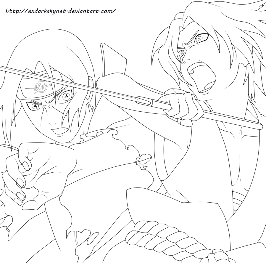 sasuke vs itachi by exdarkskynet on deviantart lineart naruto