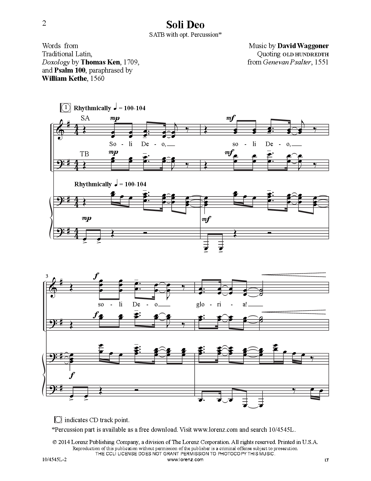 Soli Deo (SATB ) by David Waggoner| J W  Pepper Sheet Music