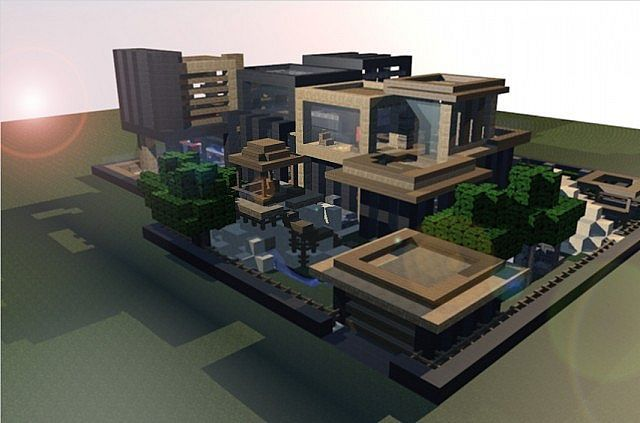 Minecraft modern beach house blueprints 09 minecraft for Modern house minecraft pe