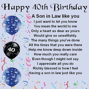 Personalised Coaster Son In Law Poem 40th Birthday Design FREE GIFT