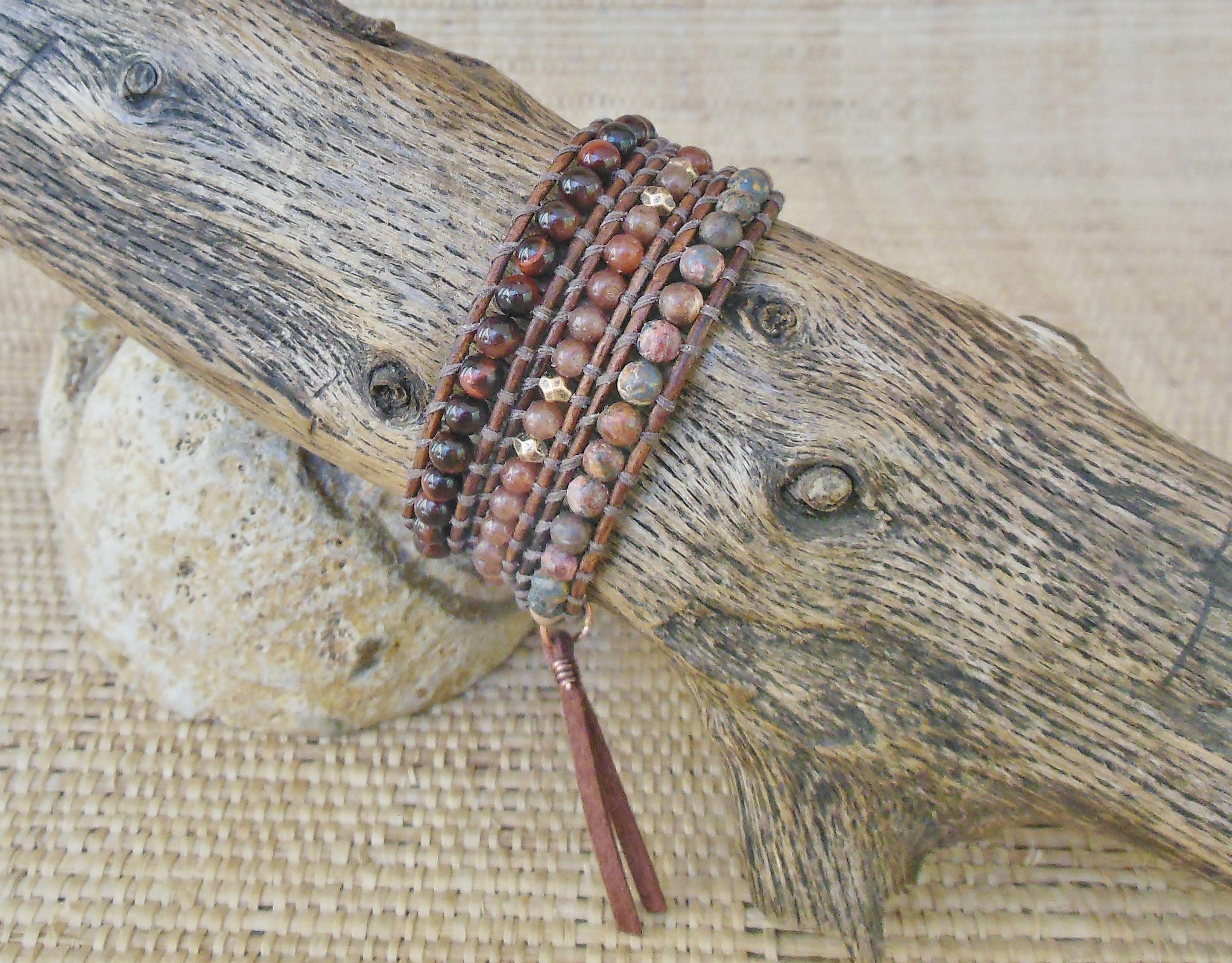 Leather Wrap Bracelet, Base Chakra Gemstones, 3 Wrap