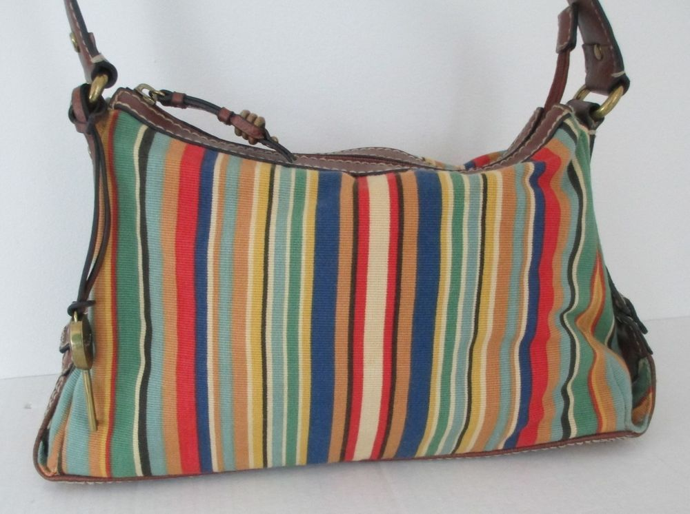Fossil Canvas Handbag Modern Vintage Leather Trim Striped Key Fob Straw Purse