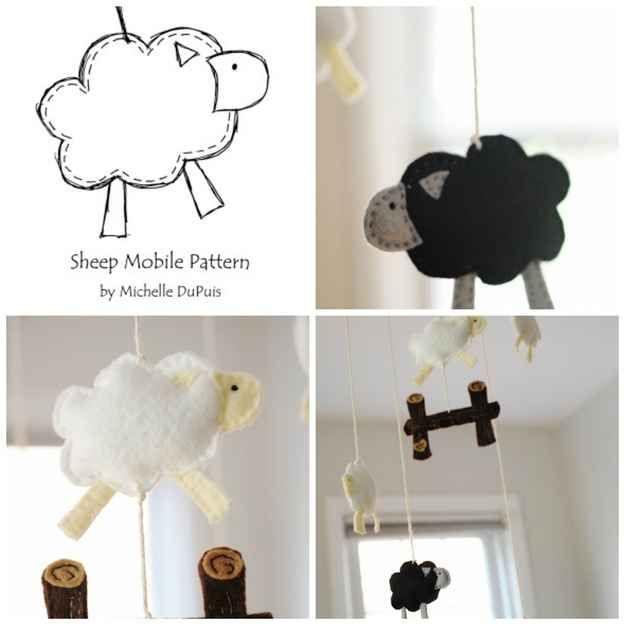 schaf mobile h ckeln basteln kreativ. Black Bedroom Furniture Sets. Home Design Ideas